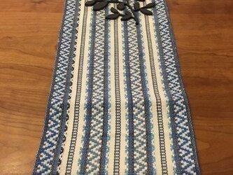 麻の手織りランナー 北欧柄 ブルーの画像