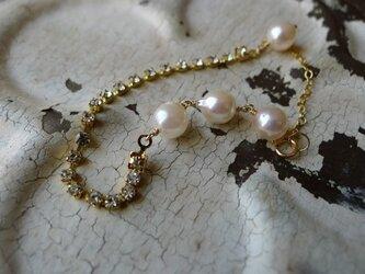 ヴィンテージラインストーンとアコヤ真珠のブレスレットの画像