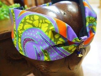 ゆらゆらビーズのオリジナルターバン/アフリカン生地ヘアバンド 薄紫の画像