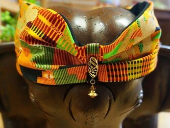 ゆらゆらビーズのオリジナルターバン/アフリカン生地ヘアバンド オレンジの画像