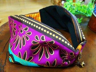 ゆらゆらビーズのオリジナルターバン/アフリカン生地ヘアバンド 紫の画像