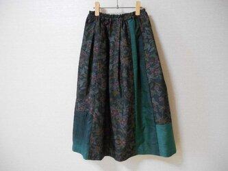 再販★黒大島リメイクスカート★少しだけパッチワークの画像