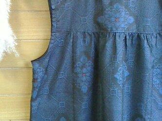 再出品 大島紬 藍菱紋 2wayワンピース 着物リメイクの画像