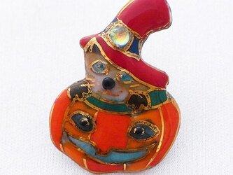 七宝焼ピンブローチ(,ピンズ) ハロウィンのカボチャランタン&猫の画像