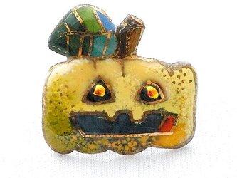 七宝焼ピンブローチ(,ピンズ) ハロウィンのカボチャランタン Bの画像