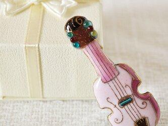 七宝焼ピンブローチ(ピンバッジ,ピンズ) バイオリン(ピンク)の画像