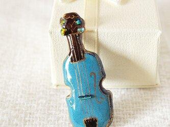 七宝焼ピンブローチ(ピンバッジ,ピンズ) バイオリン(青)の画像