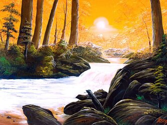 夕陽の渓流2の画像