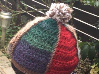 カラフルニット帽の画像