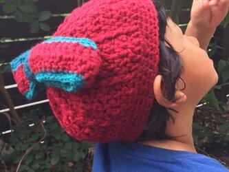 リボンのニット帽の画像