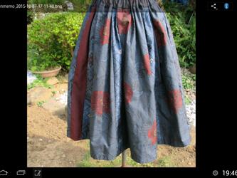 大島紬のタック入りギャザースカート   一点品の画像