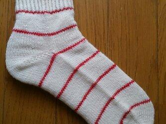 手編み靴下 ウール100%の画像