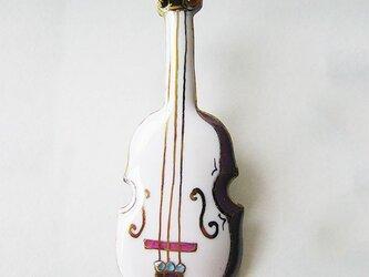 七宝焼ブローチ バイオリン(白)の画像