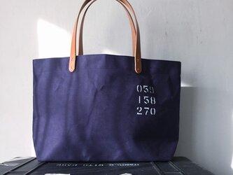 パラフィン帆布紺シンプルトートバッグ M IND_BNP_0270の画像