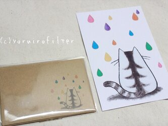 雨猫のポストカード&ミニ封筒セットの画像