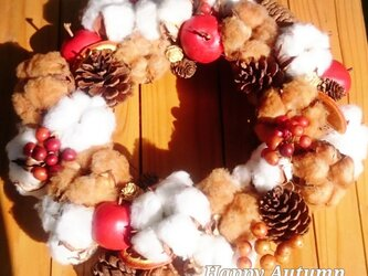 【Φ25cm】 Happy Cotton Wreathの画像