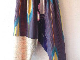 着物・浴衣リメイクサルエルパンツ 矢絣の画像