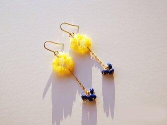 ラピスラズリ&琥珀 ピアス Bonheur Amber&Lapis earrings P0035の画像
