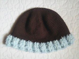 ふわふわウールお帽子  ~ 46cm ビターチョコ&塩ミントの画像
