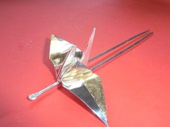銀の折り鶴の簪の画像