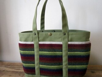 「wool tote」M モス×ボーダーの画像