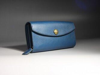 大容量ブルー長財布★コンチョ付きの画像