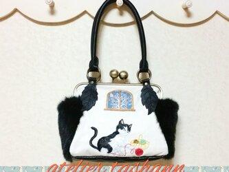 ✿猫と毛糸玉✿そっくりニャンコがま口バッグ・中の画像
