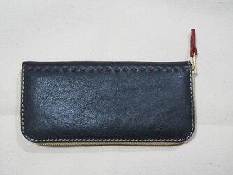 【特別仕様】柔らかい革のコの字ファスナー定番長財布 / ネイビーの画像