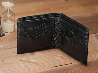 ☆送料無料☆BASICウォレット<BLACK> カードタイプ ☆ラッピング無料☆ 二つ折り財布の画像