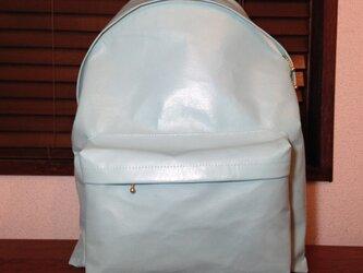 豚革 ライトブルー バッグパック リュックの画像