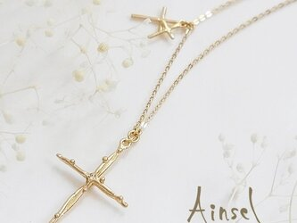 Planet Cross Necklace (gold)の画像