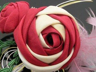 つまみ細工 玉バラのコームかんざしの画像