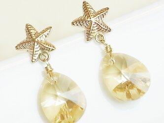 送料無料 14kgf Swarovski starfish earrings (Gold)  スワロフスキー 涙 しずく ピアスの画像