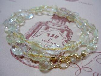 レモンクォーツとクリスタルの2連ブレスレットの画像