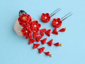 【受注製作】七五三☆正絹 椿の髪飾り 赤 Uピン花 2輪 かんざしの画像