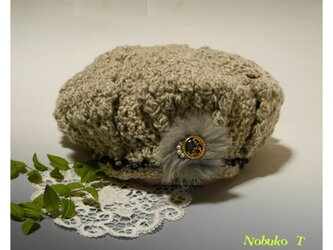 シックなツイード風ニットベレー帽子(ホワイト系)の画像