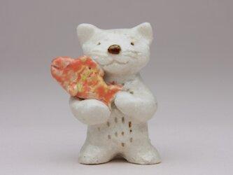 猫と魚(陶製)の画像