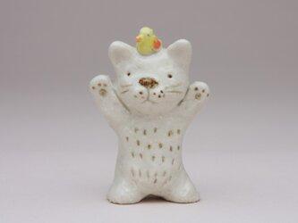 猫と小鳥(陶製)の画像
