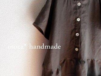 【受注製作】半袖リネン前ボタンフード付きシンプルワンピース★濃茶の画像