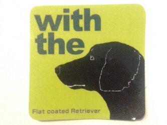 フラットコーテッド・レトリーバー 横顔 犬ステッカーの画像