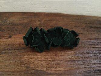 革花のバレッタ 金具5cm 深緑の画像