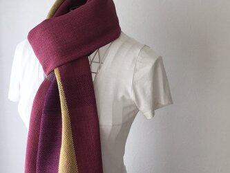 """【綿&リネン:オールシーズン】ユニセックス:手織りストール """"Purple Stripe 4""""の画像"""
