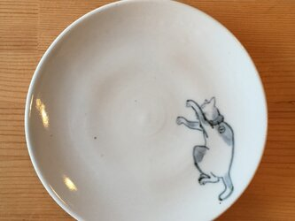 染付4寸猫皿 35の画像