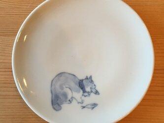 染付4寸猫皿 38の画像