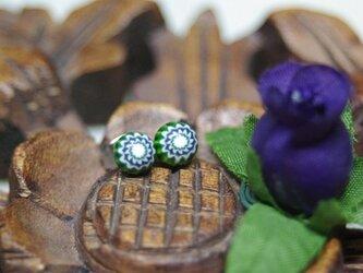 A様ご注文品 深緑のミルフィオリのガラスピアスの画像