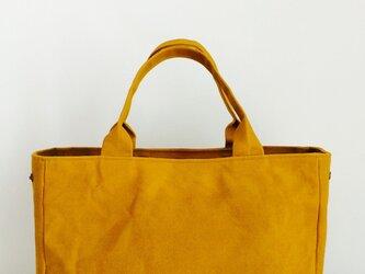 帆布×本革 カッチリ目トート マスタードの画像