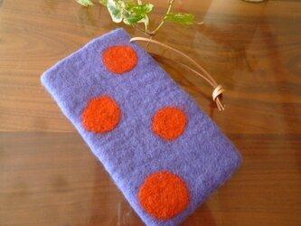 羊毛フェルトのスマホケース(ライラック)iphone6の画像