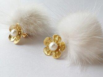 flower & minkfur pierce ≪gold≫の画像