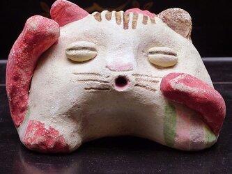 彩門縄文様古代色猫土偶#Jの画像