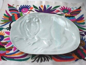 恐竜の皿 /プレート皿 /磁器 /陶芸 /ハンドメイド /可愛いキッズ食器/potteryの画像